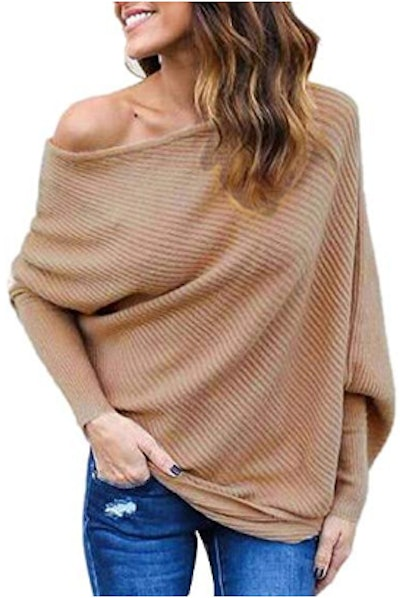 OTSLEY Women's Fall Off Shoulder Knitted Sexy Loose Batwing Sweater