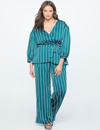 Pinstripe Wide-Leg Pajama Pant