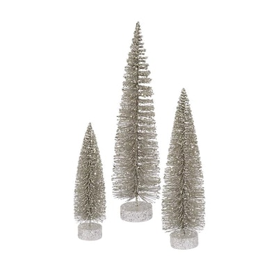 Unlit Artificial Christmas Tree Glitter Oval Set — Champagne