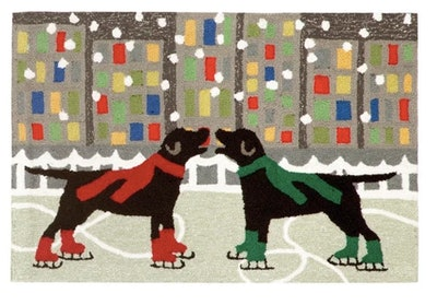 Holiday Ice Dogs Indoor/Outdoor Accent Rug