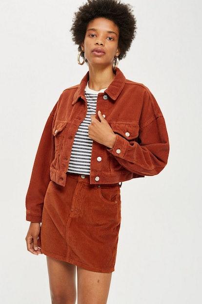 Rust Corduroy Jacket and Skirt Set