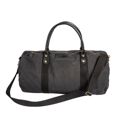 Personalized Canvas and Leather Duffle Bag in Black