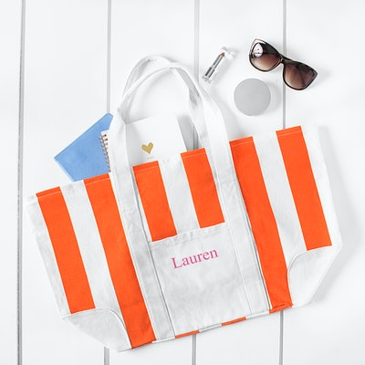 Personalized Orange Striped Canvas Tote