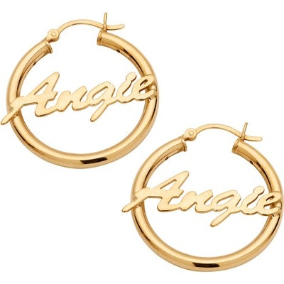 Personalized 14kt Gold Plated Sterling Silver Name Hoop Earrings