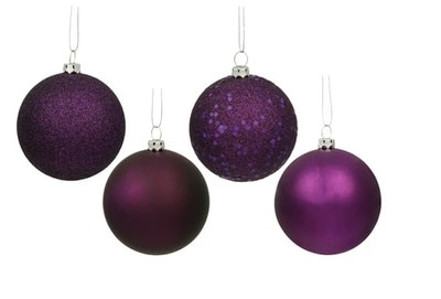 Purple Assorted Finishes Ball Shatterproof Christmas Ornament (Set Of 20)