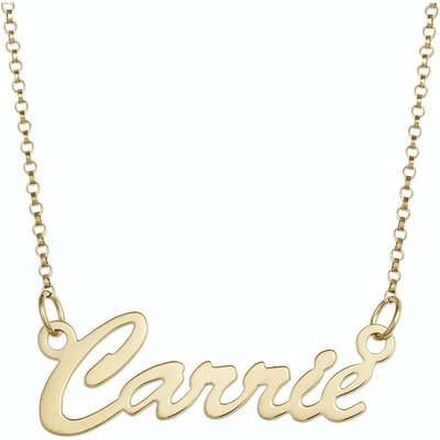 Personalized 1mm, Sterling Silver or 14kt Gold Plated Hollywood Script Name Necklace