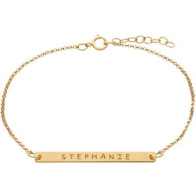 Personalized Gold over Sterling Silver Name Bar Bracelet