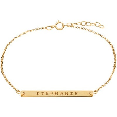 Personalized Gold over Sterling Silver Name Bar Bracelet