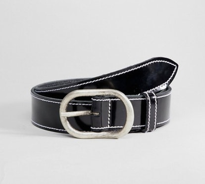 Retro Luxe London Black Patent Leather Belt with White Stitching