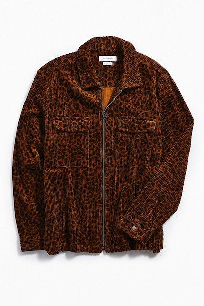 UO Ryder Cheetah Corduroy Zip-Up Shirt