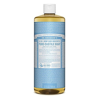 Dr. Bronner's Pure-Castile Unscented Baby Soap, 32 oz.