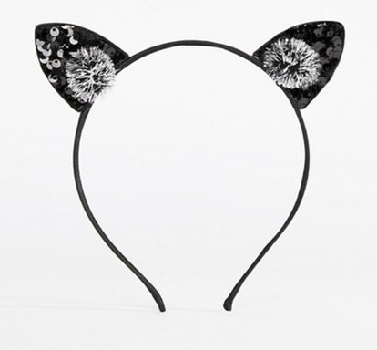 ASOS DESIGN HALLOWEEN Headband With Sequin Cat Ears And Poms In Black
