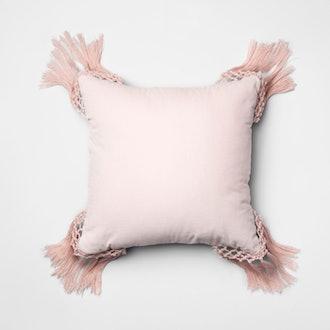 Opalhouse Macrame Velvet Square Throw Pillow