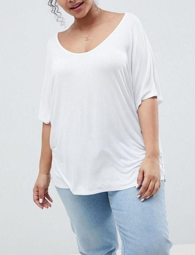 T-Shirt With Drapey Batwing Sleeve