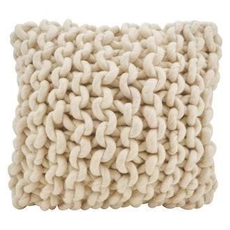 Saro Lifestyle Chunky Knit Filled Down Filled Throw Pillow Cream
