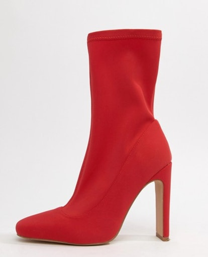 Missguided Square Toe Ankle Boot In Red