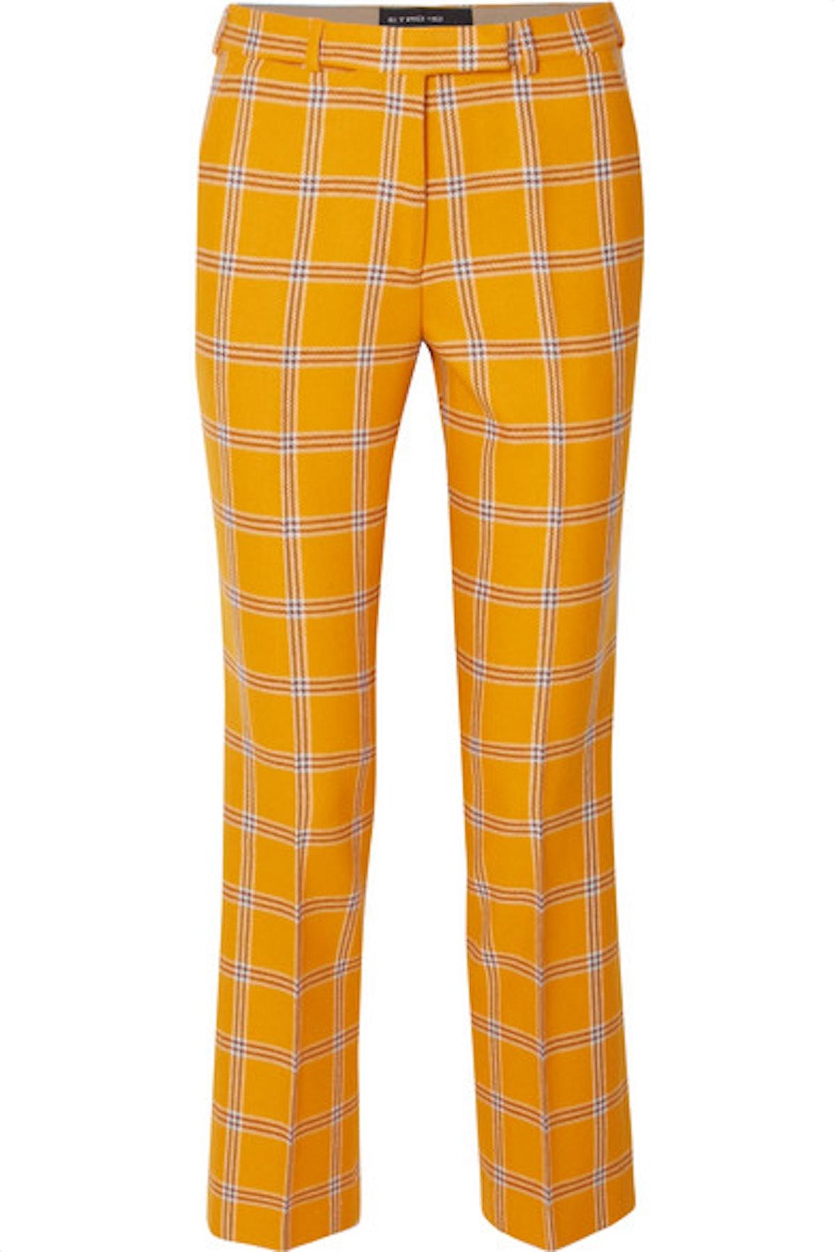 Checked Wool Straight-Leg Pants