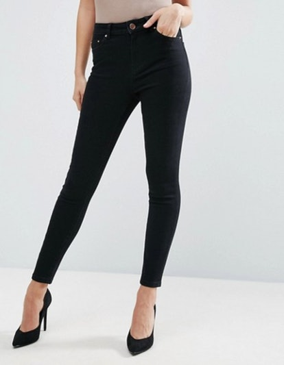 ASOS DESIGN Ridley High Waist Skinny Jeans In Clean Black