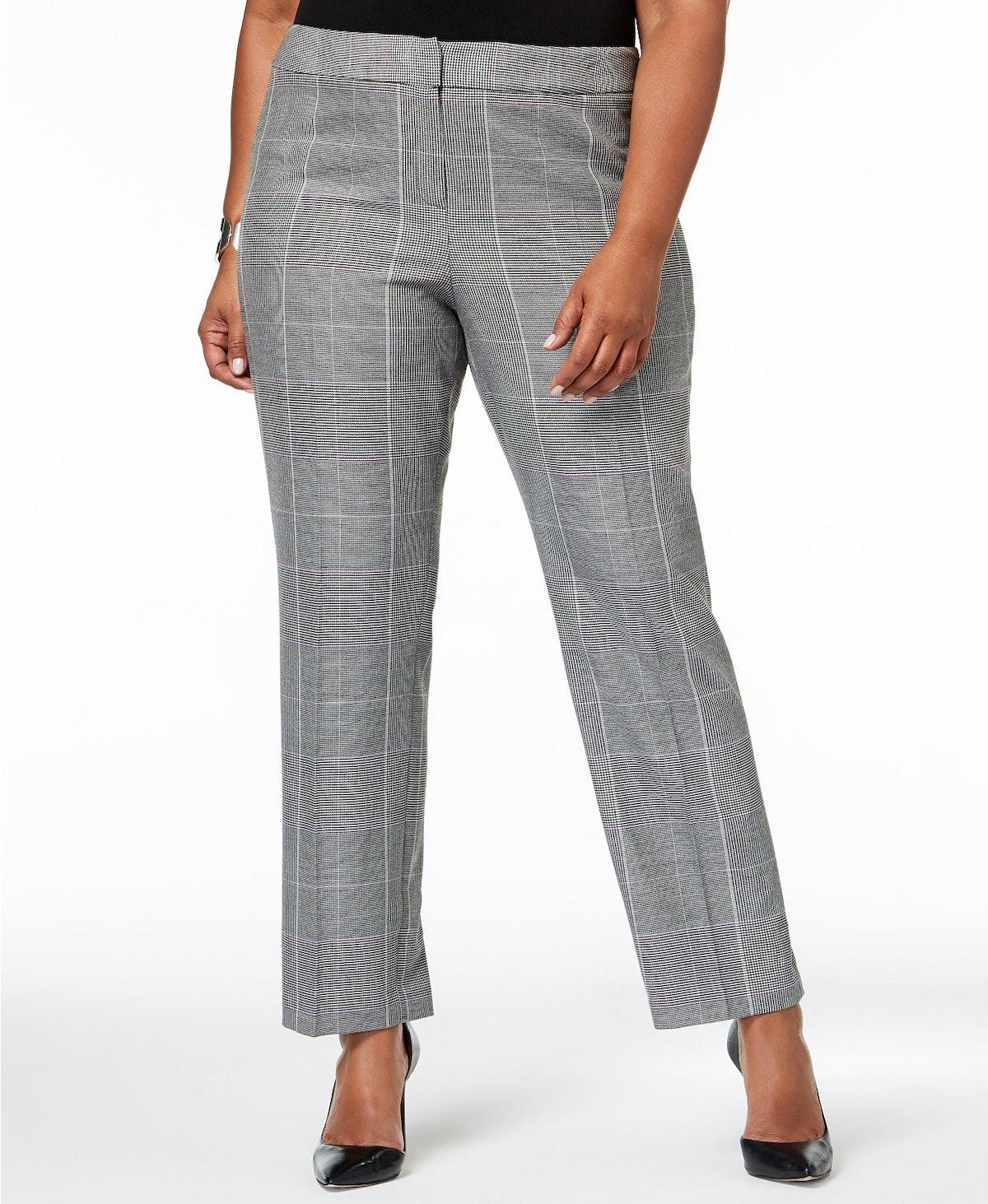 Plaid Straight-Leg Pants