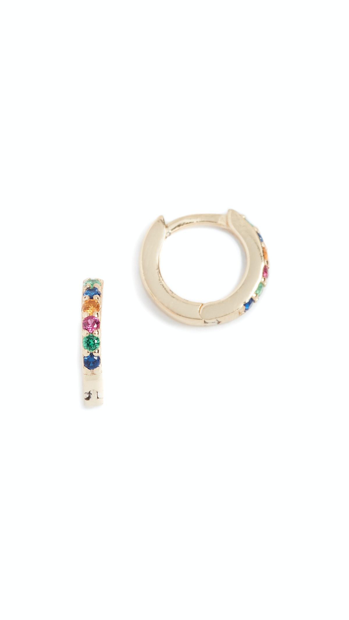Rainbow Katerina Pave Huggie Earrings