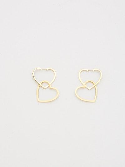 Double Heart Hoops