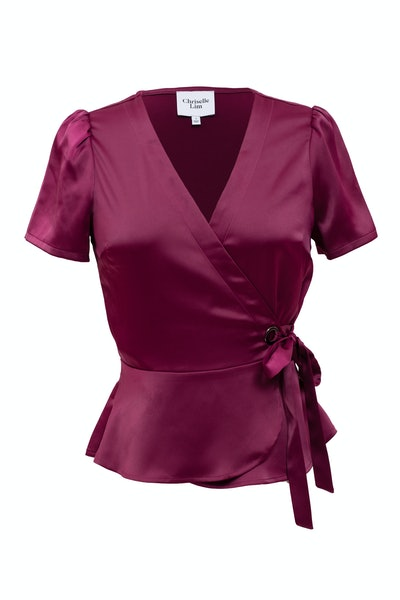 Chriselle Lim Collection Wren Satin Wrap Top