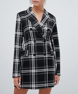 Check Print Blazer Dress