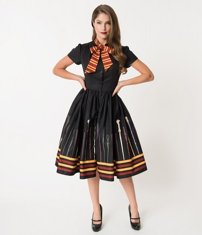Unique Vintage 1059s Style Black Magic Wand Minerva Swing Dress