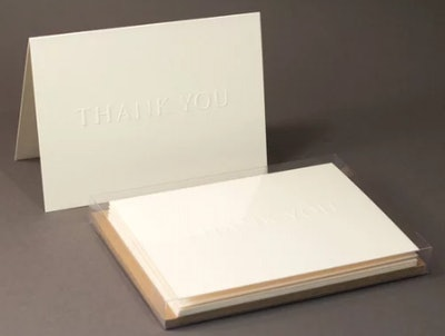 6 Embossed Thank You Cards