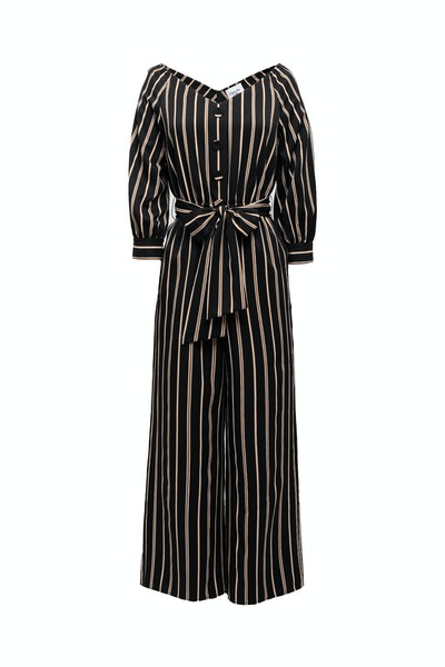 Chriselle Lim Collection Jane Stripe Portrait Jumpsuit