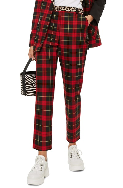 Leopard Trim Tartan Trousers