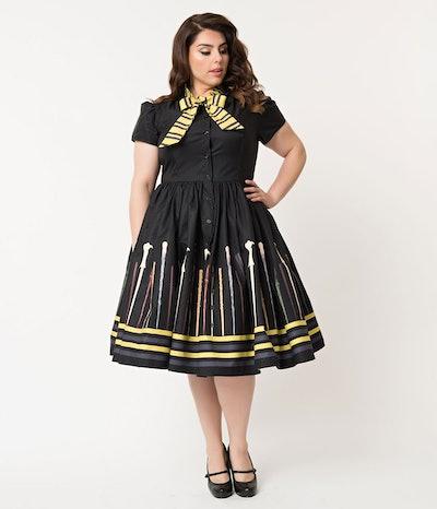 Unique Vintage 1059s Style Black Magic Wand Helga Swing Dress