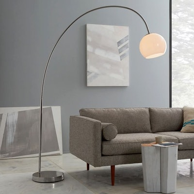 Overarching Acrylic Shade Floor Lamp - Polished Nickel/White