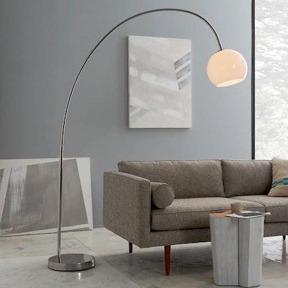 Overarching Acrylic Shade Floor Lamp - Polished Nickel/White