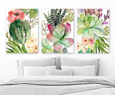 Cactus Succulent Watercolor Wall Art
