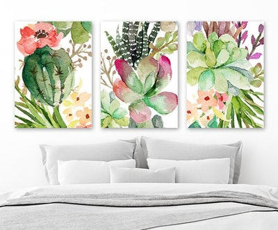 Cactus Succulent Watercolor Wall Art