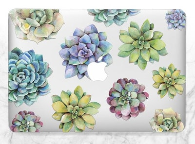 Succulents Clear Case Floral Skin Macbook