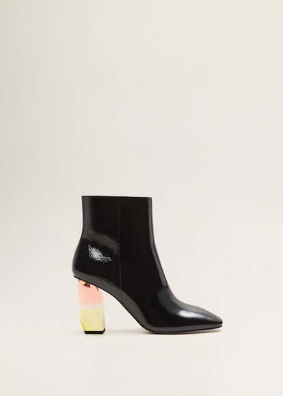 Geometric Heel Leather Ankle Boots