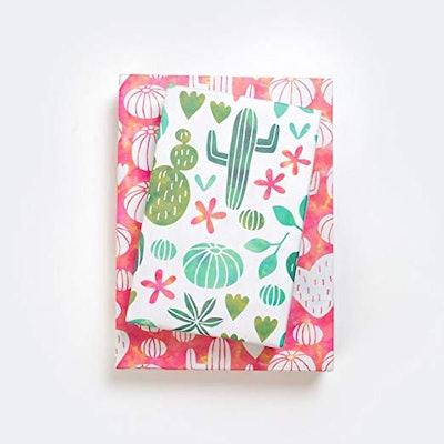 Cactus Watercolor/Blooming Succulents Designer Gift Wrap