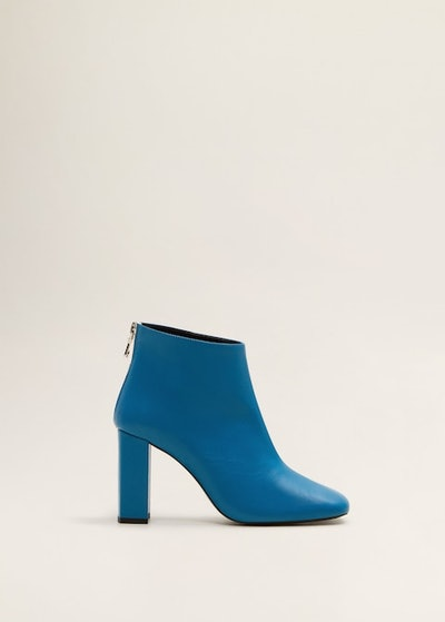 Zipper Leather Ankle Boots