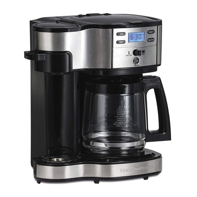 Hamilton Beach Single Serve Coffee Maker And Coffee Pot Maker, Programmable, Black/Stainless Steel