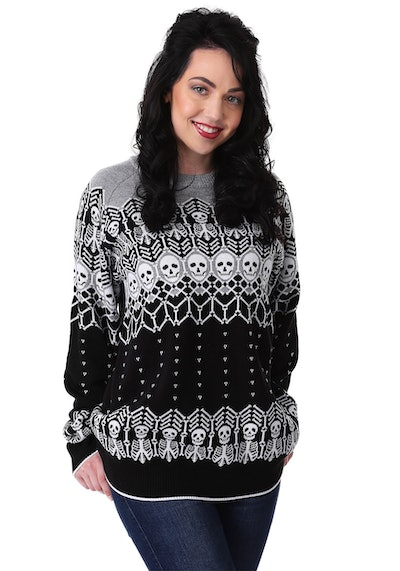 Black And White Skeleton Ugly Halloween Sweater