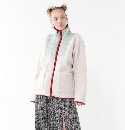 UO Borg Contrast Trim Jacket