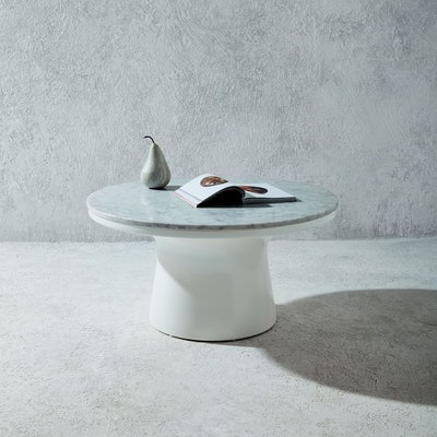 Marble-Topped Pedestal Coffee Table - White/Marble White
