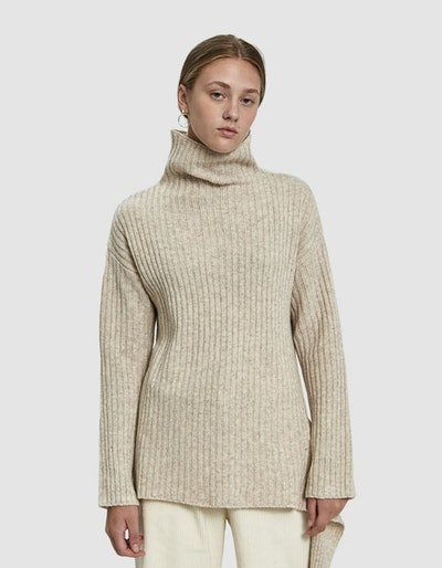 Mijeong Park Ribbed Pullover with Side Tie