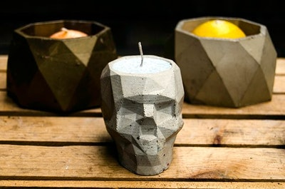 Concrete Geometric Skull Votive/Succulent Plant Holder