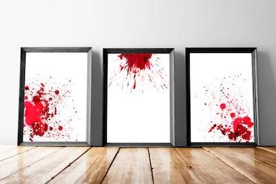 Set of Watercolor Blood Spatter Art - Hematology - Pathology Art