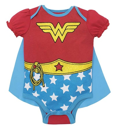 Baby Girls Wonder Woman Onesie With Cape