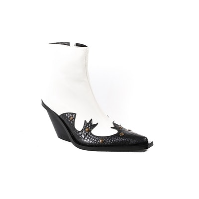 Cabinda Black and White Calf Western Ankle Boot