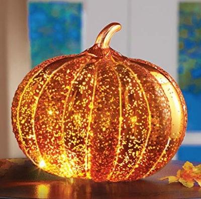 Collections Etc LED Light Up Decorative Pumpkin